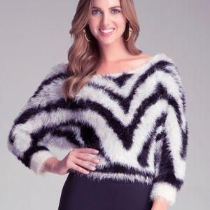Bebe Fuzzy Zebra Cropped 3/4 Sleeve Sweater
